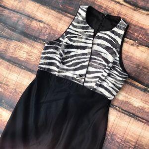 Dresses - Vintage Zebra Print Textured Button Black Dress
